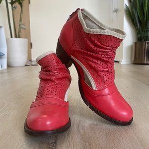 Women's Portuguese DKODE Red Leather Booties